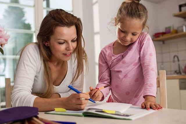 Mamma che insegna a leggere alla figlia